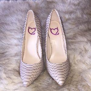 Cream snake skin heels